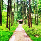 Cabin In The Woods. Digital painting of a cabin in the woods royalty free illustration