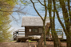 Cabin in the woods at lake Attersee. Cabin in the woods on a hill near Nussdorf at lake Attersee stock photography