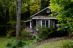 Cabin in the woods. A little cabin sits hidden in the woods in michigan royalty free stock photos