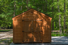 Cabin in the Woods. A locked cabin in the woods Stock Photo