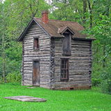 Cabin in the Woods. Log cabin in the woods in Indiana royalty free stock image