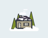 Cabin in the woods. Lonley cabin in the winter forest. Christmas home in the woods concept. Thin line flat style illustration vector illustration