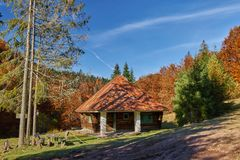 Cabin in the woods. A cabin in the woods on the mountain Royalty Free Stock Photos