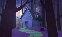 Cabin in Woods - Night Stock Image