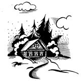 Cabin in the woods. Winter landscape. The cabin, trees and snow. Monochrome drawing vector illustration