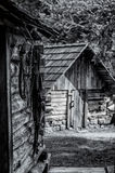 Cabin in the Woods. Working Tools in an Old Cabin of a Cherokee Village Royalty Free Stock Photo