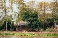 Cabina abandonada de madera vieja en el bosque, el ser abandonado reclaime Imagen de archivo libre de regalías