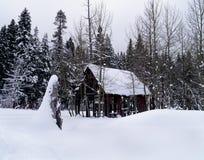 Cabina abbandonata di Snowy Immagini Stock