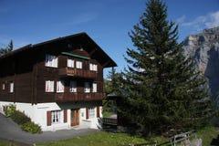 Cabina alpina di legno tradizionale Immagini Stock Libere da Diritti