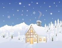 Cabina alpina in inverno Immagine Stock