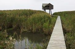 Cabina Birdwatching cerca de Nieuw Statenzijl, Holanda Fotos de archivo