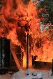 Cabina Burning di caccia Immagine Stock Libera da Diritti
