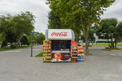 Cabina commerciale sul boulevard di Bacu Immagini Stock