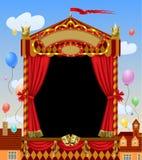 Cabina con las máscaras del teatro, cortina roja, s iluminado del espectáculo de marionetas stock de ilustración