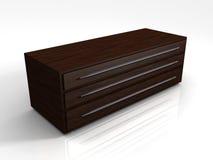 cabina de almacenaje de caoba 3D Stock de ilustración
