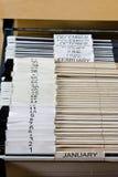 Cabina de fichero y 43 carpetas Foto de archivo libre de regalías