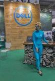 Cabina de la compañía de Dell en la ECO 2015, la feria profesional más grande de la electrónica de Ucrania Fotos de archivo
