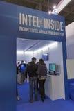 Cabina de la compañía de Intel en la ECO 2015, la feria profesional más grande de la electrónica de Ucrania fotos de archivo