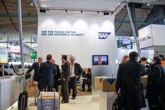 Cabina de la compañía de SAP en la feria profesional de la tecnología de la información del CeBIT Foto de archivo libre de regalías