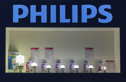 Cabina de la compañía de iluminación de Philips en la ECO 2015, la feria profesional más grande de la electrónica de Ucrania Imagen de archivo