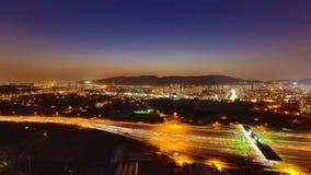Cabina de peaje de la puesta del sol de la ciudad de Seul almacen de metraje de vídeo