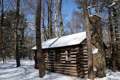 Cabina de registro colonial en nieve Foto de archivo libre de regalías