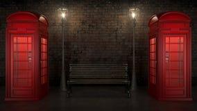 Cabina de teléfono británica en Londres Foto de archivo