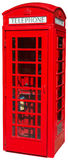Cabina de teléfono roja de británicos Londres aislada Fotos de archivo libres de regalías