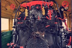 Cabina del motore del treno a vapore immagine stock libera da diritti
