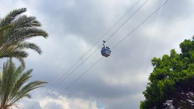 Cabina del Ropeway sui precedenti delle palme e delle nuvole archivi video