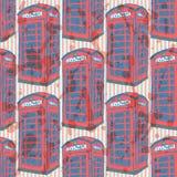 Cabina del teléfono de Londres del bosquejo, modelo inconsútil Fotografía de archivo libre de regalías