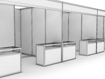 Cabina dell'interno in bianco di commercio di mostra Fotografie Stock Libere da Diritti