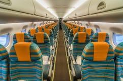 Cabina dell'interno degli aerei commerciali Fotografia Stock Libera da Diritti