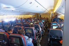 Cabina della classe economica, Japan Airlines Boeing 777 immagine stock