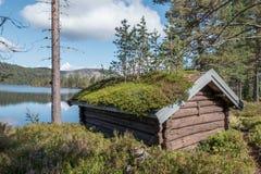 Cabina della foresta con il tetto dell'erba fotografie stock libere da diritti