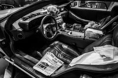 Cabina della macchina del tempo di DeLorean di nuovo alla concessione futura basata su un'automobile sportiva di DeLorean DMC-12 Fotografia Stock Libera da Diritti