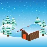 Cabina della montagna coperta da neve Fotografie Stock
