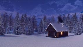 Cabina della montagna e foresta isolata dalla neve dell'abete alla notte 4K illustrazione vettoriale