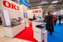 Cabina della società di OKI a CeBIT Immagini Stock Libere da Diritti