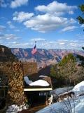 Cabina dello Snowy sul grande canyon Fotografia Stock Libera da Diritti