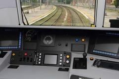 Cabina di controllo del treno Fotografie Stock