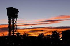 Cabina di funivia al tramonto Immagini Stock Libere da Diritti