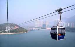Cabina di funivia all'isola di Lautau, Hong Kong. Fotografia Stock