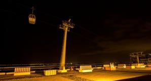 Cabina di funivia alla notte Fotografia Stock Libera da Diritti