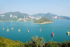 Cabina di funivia alla sosta Hong Kong dell'oceano Immagine Stock