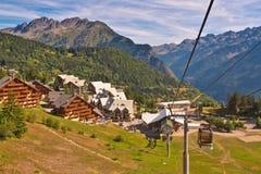 Cabina di funivia in alpi europee Fotografie Stock Libere da Diritti