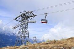 Cabina di funivia da Chamonix-Mont-Blanc alla sommità di Aiguille du Midi Immagine Stock Libera da Diritti