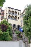 Cabina di funivia del funicolare a Citta Alta a Bergamo Fotografia Stock