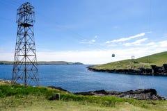 Cabina di funivia dell'isola di Dursey vecchia in penisola di Beara l'irlanda fotografie stock libere da diritti