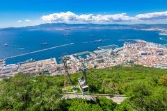 Cabina di funivia della roccia di Gibilterra Immagine Stock
